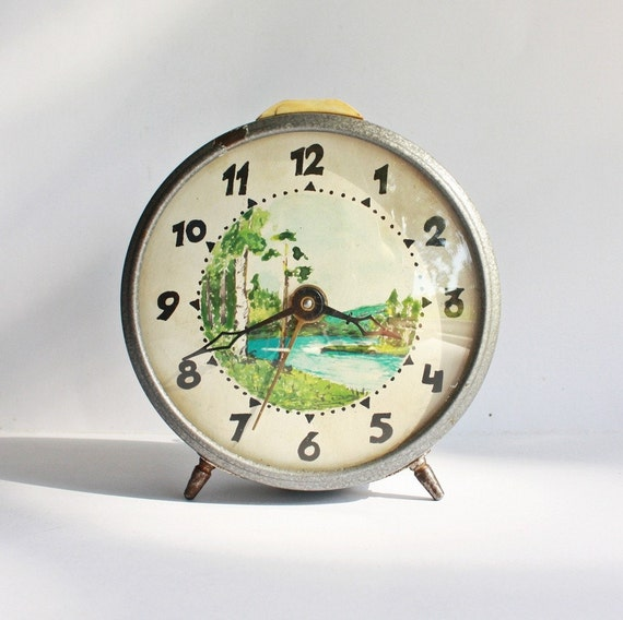 Hand painted on a Clock Vintage Russian mechanical alarm clock Jantar from Soviet Union