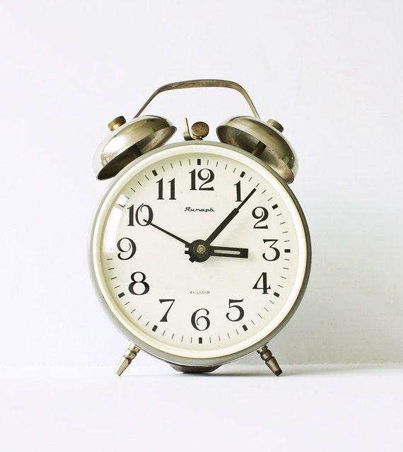 Vintage Russian mechanical alarm clock Jantar from Soviet Union era