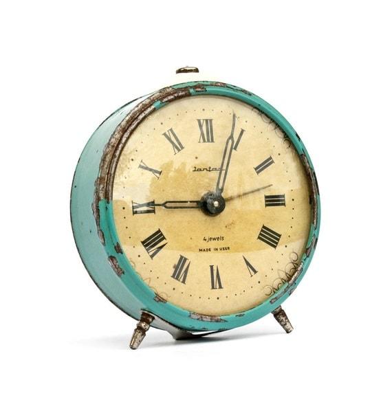 Vintage Russian mechanical alarm clock Jantar turquoise colour