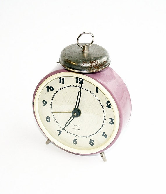 Pink alarm clock Jantar from Soviet Union era, mechanical clock purple violet rose color