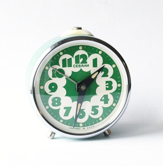 Vintage alarm clock Sevani from Armenia green by ...