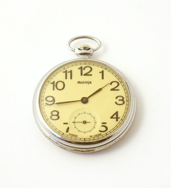Molnia Pocket watch from Russia Soviet Union, yellow watch
