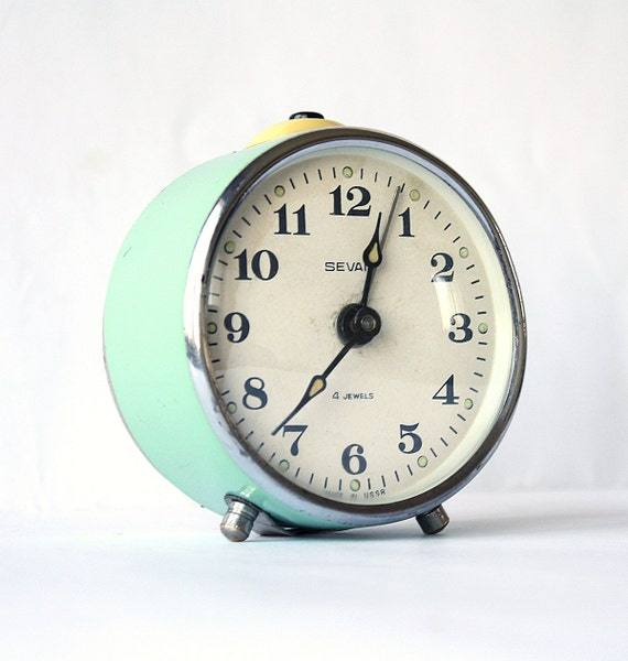 Vintage alarm clock Sevani from Armenia, turquoise clock, Soviet era alarm clock, mechanical clock