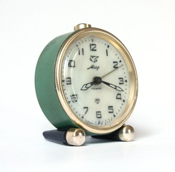 Vintage Russian mechanical alarm clock Slava from Soviet Union period green alarm clock