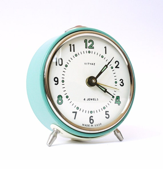 Turquoise alarm clock from Russia, vintage mechanical alarm clock Vitjaz, turquoise color