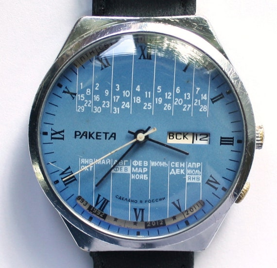 Vintage watch Raketa, mechanical watch, blue russian wrist watch, mens watch, man watch