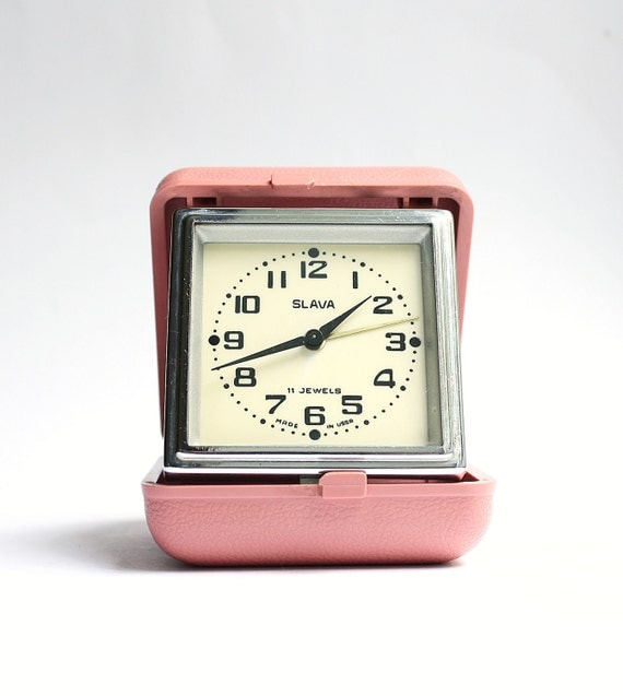 Vintage travel alarm clock Slava from Russia Soviet union era rose pink clock alarm