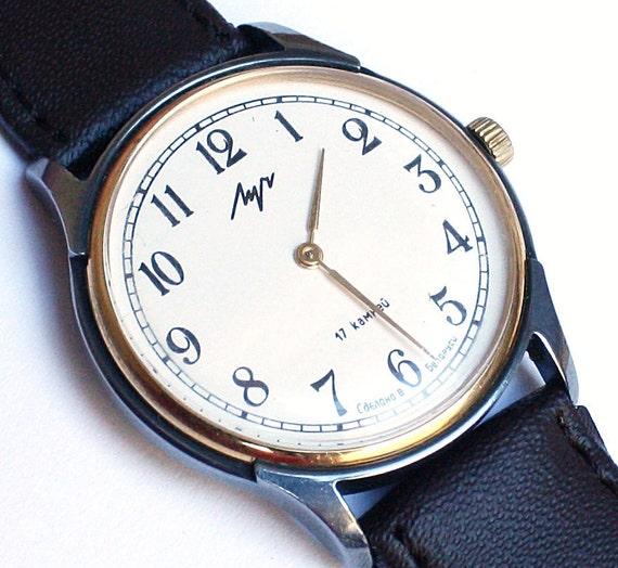Soviet Belarus mechanical wristwatch Luch vintage wristwatch gold color wristwatch