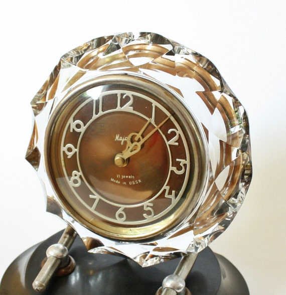 Old Russian crystal desk table clock Majak made in Soviet Union era