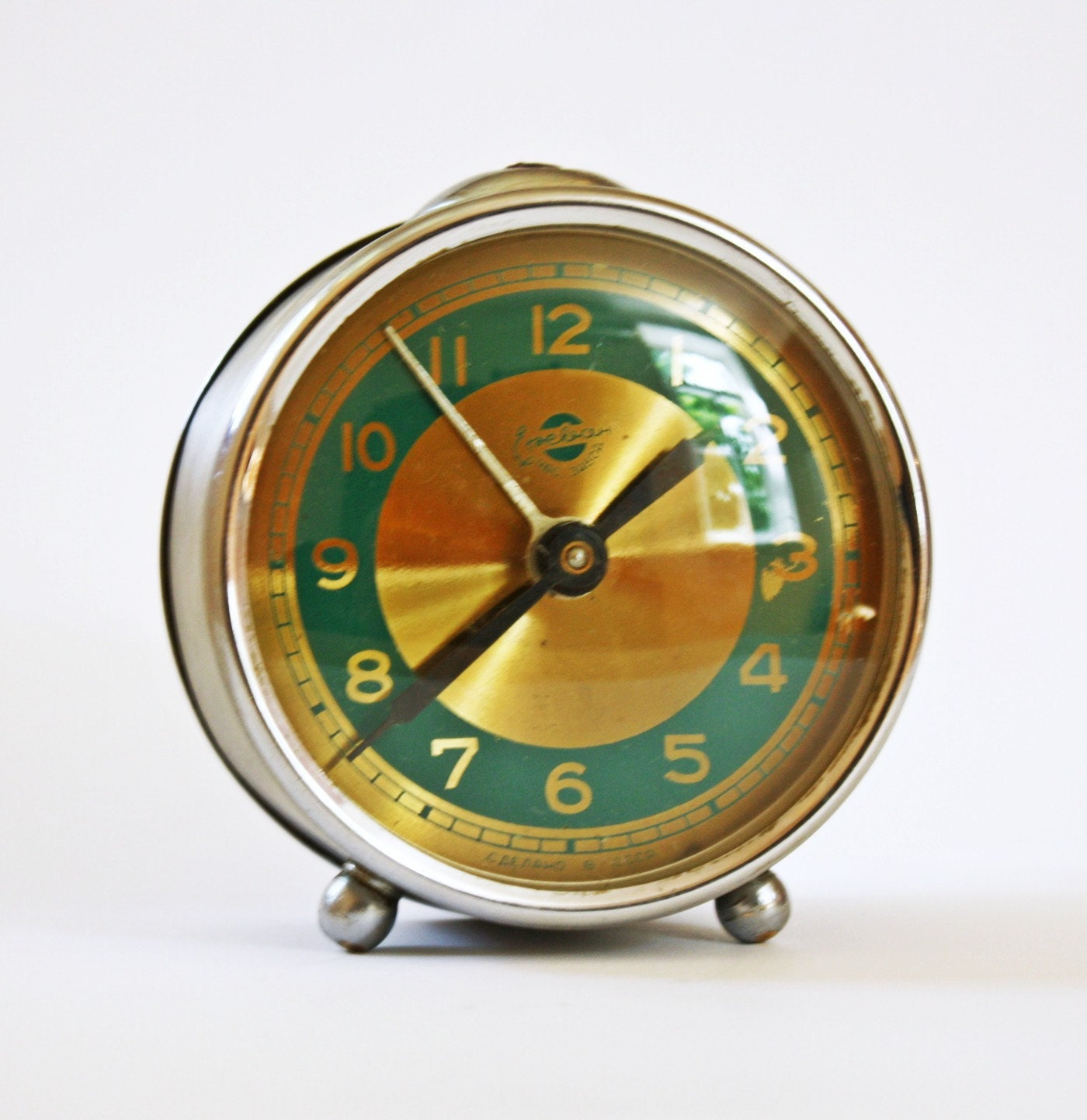 RESERVED RARE Vintage alarm clock Sevani from Armenia metal