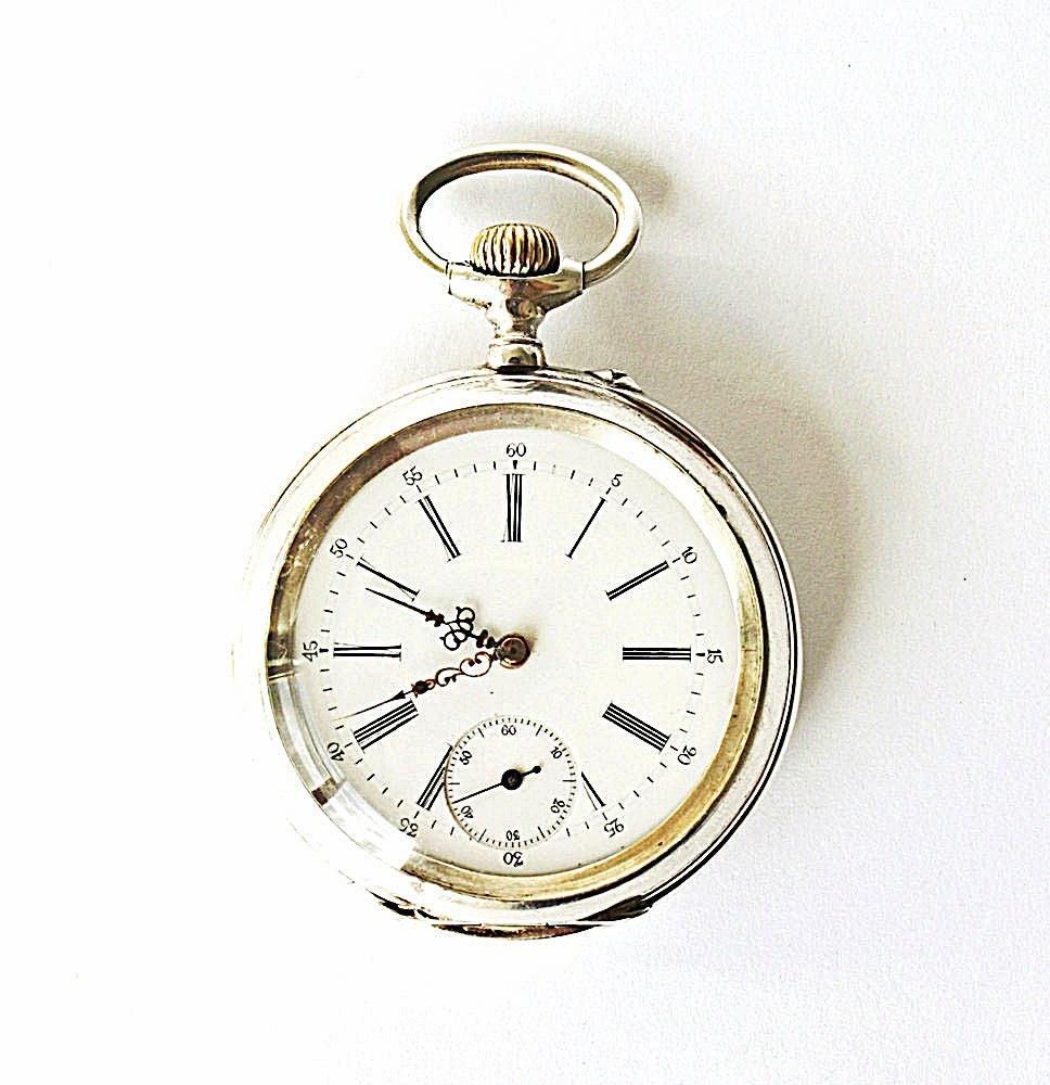antique swiss silver pocket remontoir ancre ligne droite