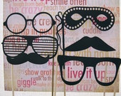 Huge Photo Booth Party PackSet 18 piece Glasses and Stashes  Free Shipping