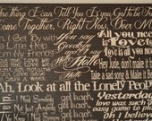 The Beatles, the Best of - Lyric Collage Art on Canvas,Personalized Wedding or Anniversary Gift - Wedding Song Lyrics