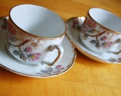 Vintage Blooms Teacup & Saucer Pair