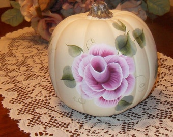 Shabby Cottage Chic Hand Painted Pink Rose Victorian Pumpkin