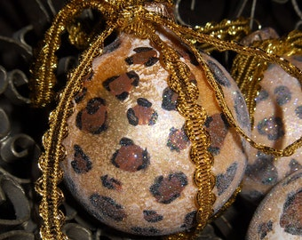 Set of 20 Leopard Animal Print Chic Hand Painted Gold Sparkle Glass Ornaments New