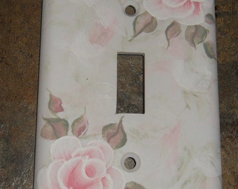 Shabby Cottage Chic Hand Painted Pale Pink  Rose Light Switch Cover