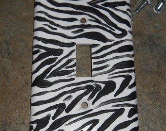Hand Painted Zebra Animal Print Light Switch Cover