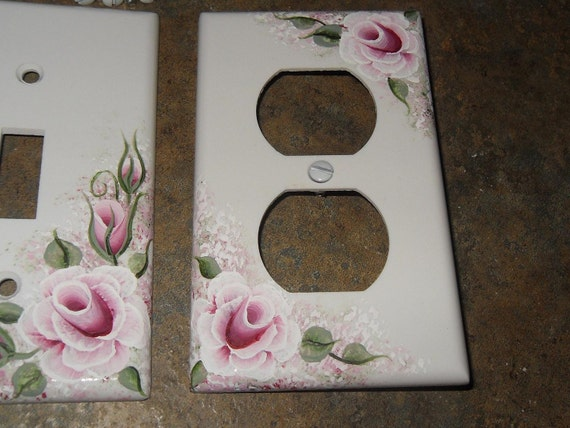 Victorian Shabby Cottage Chic Pink Rose Outlet Cover