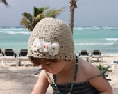Kids HAND Crochet Eco Friendly Hemp Cotton Hat With Gauze Flowers (Sz 6 months through 14years)