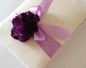 Rustic Wedding Guest Book - Royal Purple Hydrangeas - Muslin and Purple Ribbon - Handmade - Free Shipping