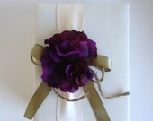 Rustic Wedding Photo Album - Purple Hydrangeas - Cream Ivory Ribbon - Olive Green and Rope Bow - Handmade and Gift Wrapped - Free Shipping