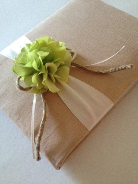 Wedding Guest Book - Green Hydrangeas - Tea Dyed Muslin and Rustic Cream/Ivory Ribbon - Handmade