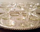 Mid-Century Champagne Coupe Glasses, Mad Men, Great Gatsby Style and Old Hollywood Style, Bamboo Knob Stem, 50+ Available, Pick a Quantity