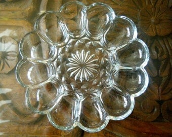 Classic Vintage Deviled Egg Dish, Clear Glass with Crystal Look, 1960s Fostoria Depression Glass, 12 Cradles and Open Center