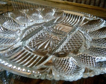Gorgeous Vintage Deviled Egg Dish with Sections for Pickled Items, Depression Glass, Perfect for Serving Appetizers at Thanksgiving