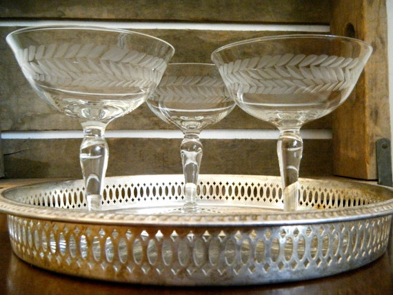 Set of 3, Exquisite Champagne Coupes with Leaf Detail, FREE SHIPPING