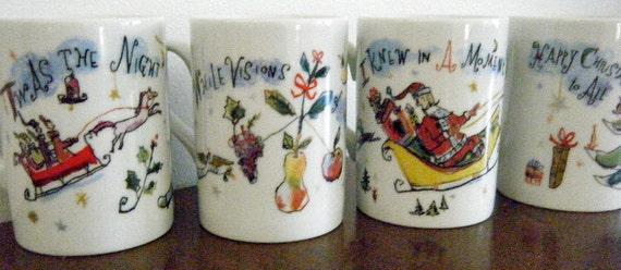 Twas' the Night, Crate and Barrel Christmas Mugs, Set of 4, All Original Designs, Designed by Artist Diane Bigda