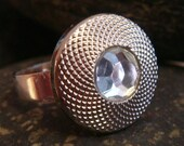 Vintage Button Ring  - Silver Crystal
