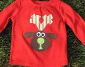 Prancer Reindeer Shirt  Girl 12-18 months READY TO SHIP
