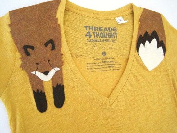 Wrapped Fox T-shirt in Butternut, size M