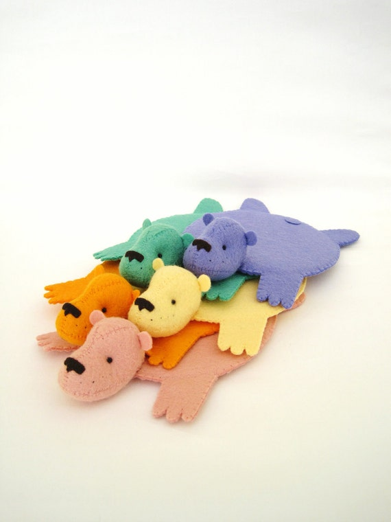 Rainbow Set of Bear Rug Coaster (Set of FIve)