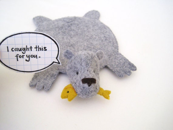 Bear Rug Coaster with Fish (heather gray with yellow fish)