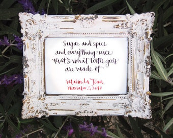 """Handwritten Calligraphy for Wedding Vows, Baby Name, Poem, Quote, Song 4"""" x 6"""""""
