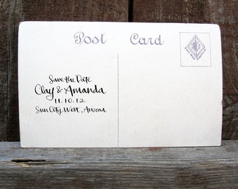 All-Calligraphy Save The Date Stamp with Wedding Day -- rubber stamp with wood handle