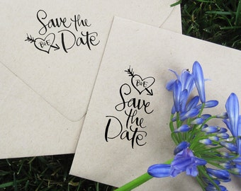 Calligraphy Save the Date with Initials Stamp  -- rubber stamp with wood handle