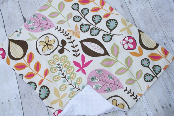 Baby Blanket Minky Dot Designer Cotton 22x27 Mod Multi Print READY TO SHIP
