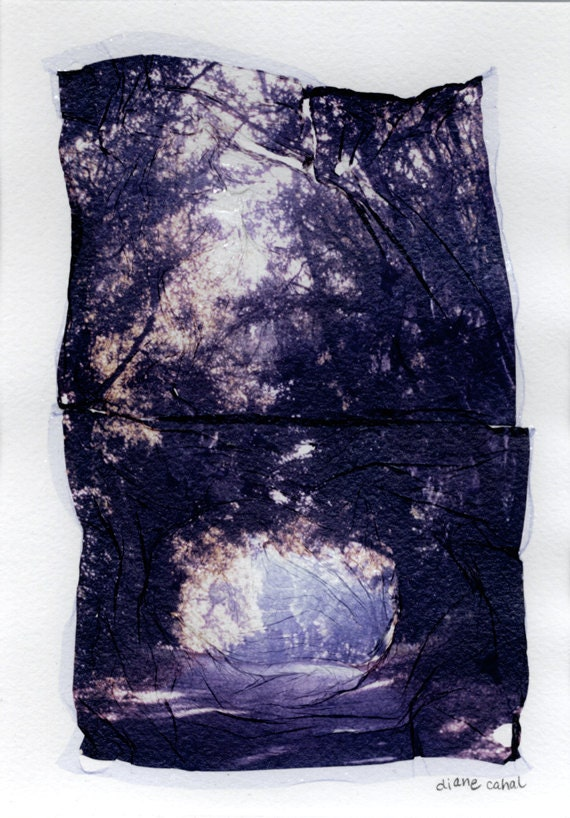 arch road - Polaroid Emulsion Lift - two piece composite