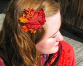 Fallen Leaves in Orange and Red Autumnal Hair Clip