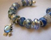 "SALE ""-15 DOLLARS"" Blue Ocean Crab Charm Murano Bead Bangle Bracelet"