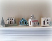 Christmas Putz Houses Village Genuine Putz Village Cardboard Village Fiver Piece Set Dime Store  Winter Decor