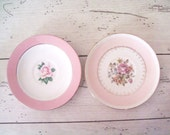 Vintage Pink  Saucers Homer Laughlin China Pink Floral Saucers Homer Laughlin