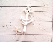 Anchor Wall Hook Cast Iron  Coastal Beach Cottage White Beachy Chic