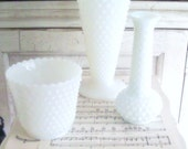 Wedding Vases Milkglass Vases Hobnail Instant Collection, Shabby Cottage Chic, French Farmhouse