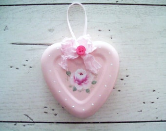 Valentine Heart Ornament Pink Hand Painted Floral Heart Jello Mold