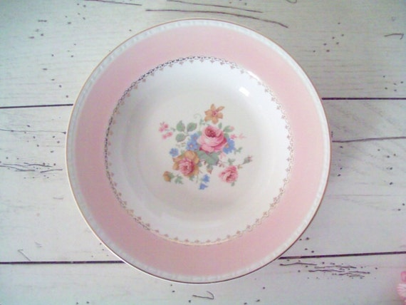 Vintage Homer Laughlin Soup Bowl  Marilyn Pink Pattern Wedding Dessert Table